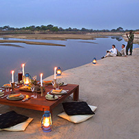 Bush picnic overlooking Luangwa River, Zambia