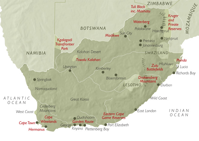 Botswana South Africa Map.Map Of South Africa Safari Consultants