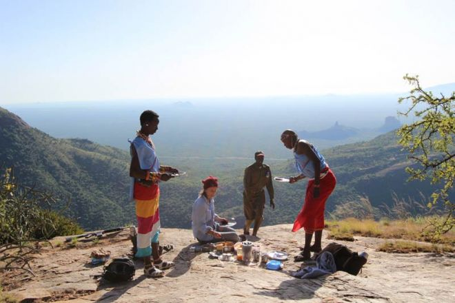 Saruni Samburu breakfast at mount Ololokwe