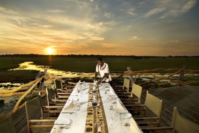 Kafunta River Lodge Dinner on Deck