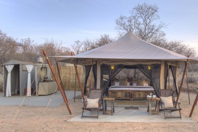 Kichaka Expeditions frontier tent and bathroom