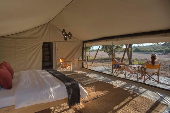 Kwihala Tented Camp tent view of mwagusi river