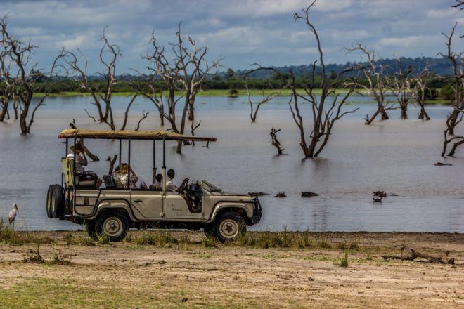 Lake Manze Tented Camp game drive hippos