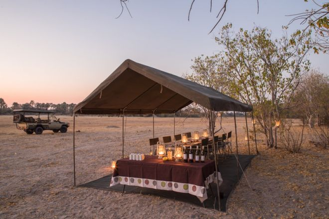 Letaka Private Mobile Safaris Dining Tent and Vehicle