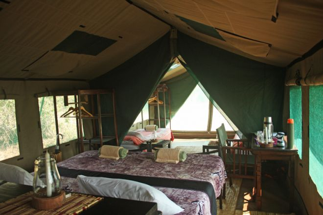 Mdonya Old River Camp family tent interior
