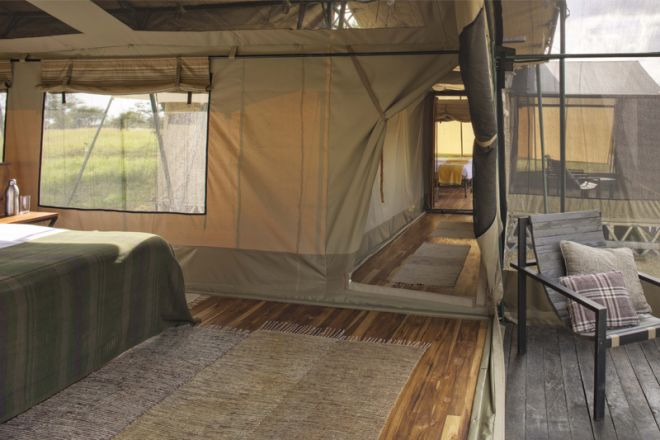 Olakira Migration Camp family tent bedroom