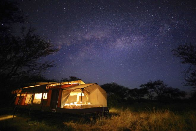 Olakira Migration Camp tent at night