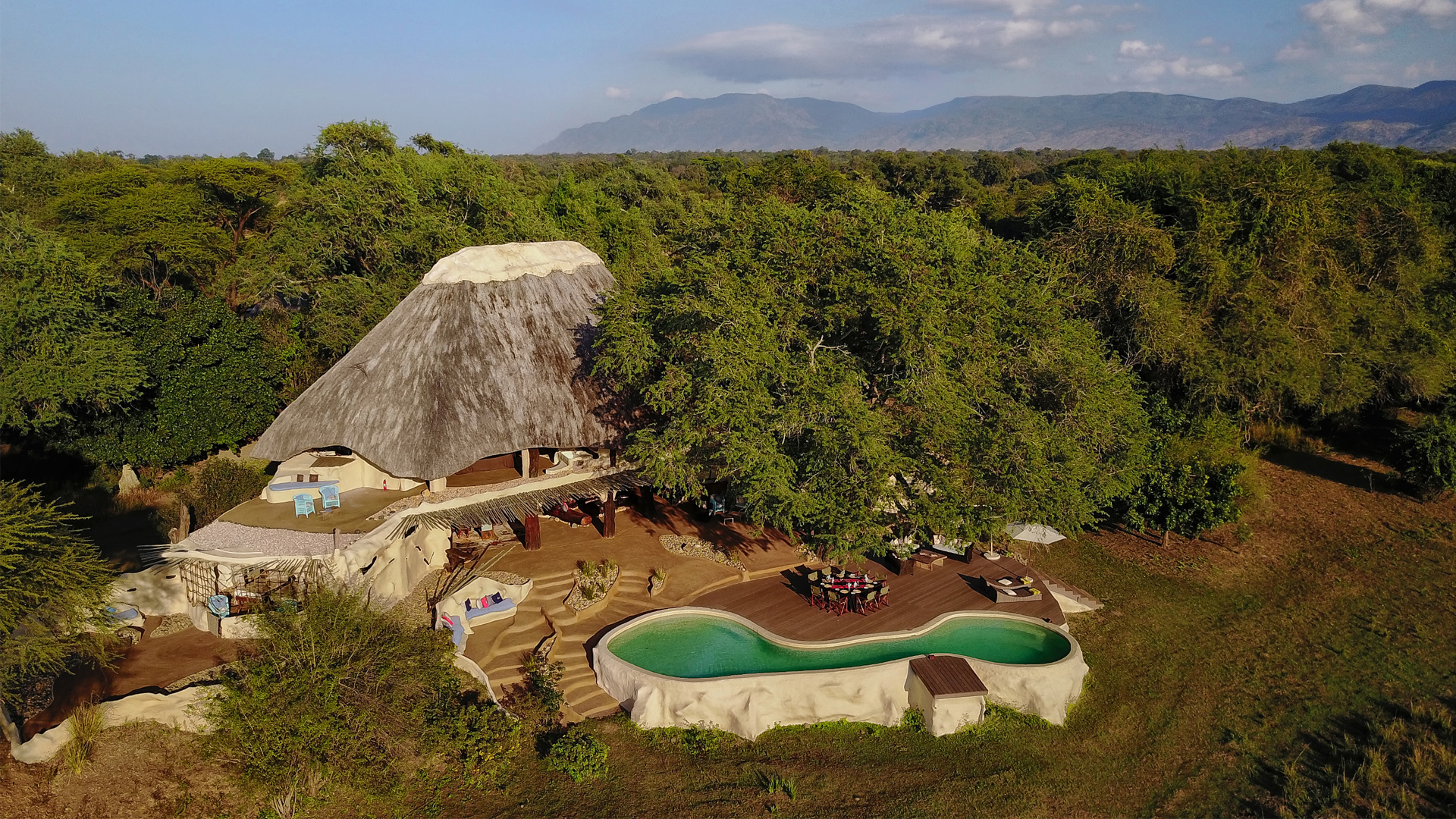 All About Safaris Accommodation private time + tide chongwe house aerial view