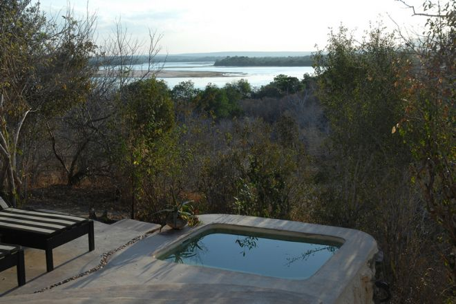Sand Rivers Selous suite plunge pool and view