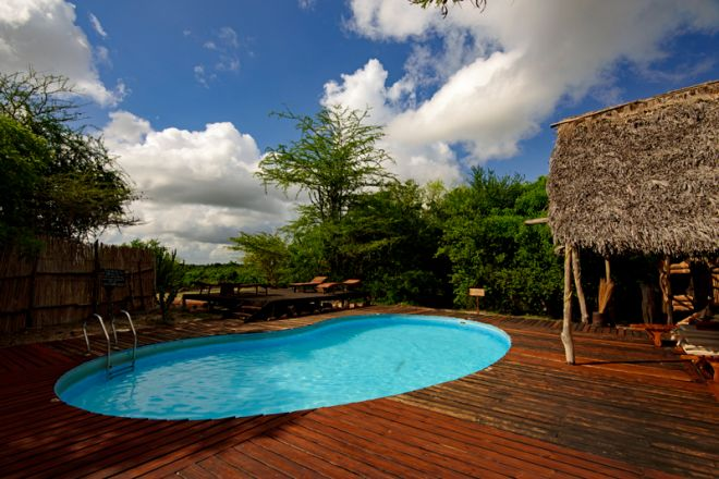 Selous Impala Camp swimming pool deck