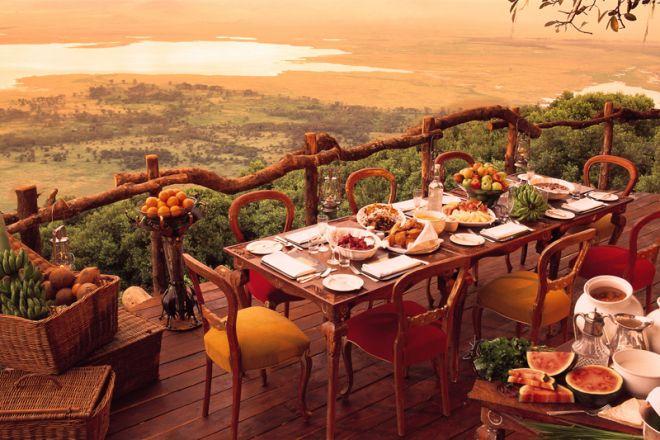 &Beyond Ngorongoro Crater Lodge breakfast on deck