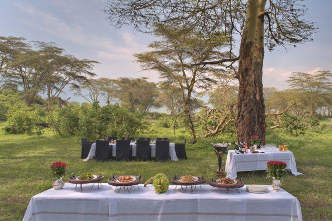 &Beyond Ngorongoro Crater Lodge bush dining