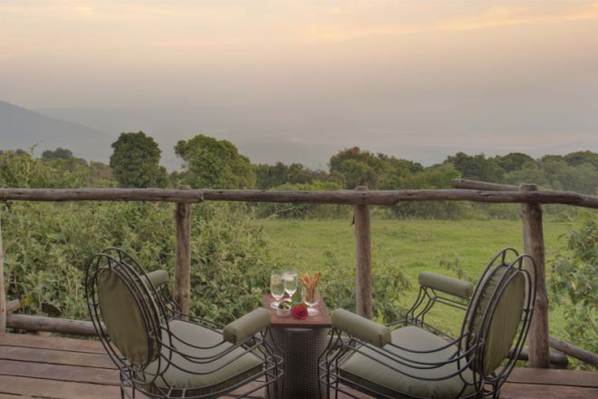 &Beyond Ngorongoro Crater Lodge guest room deck view