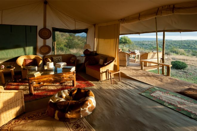 Laikipia Wilderness Camp Lounge and View