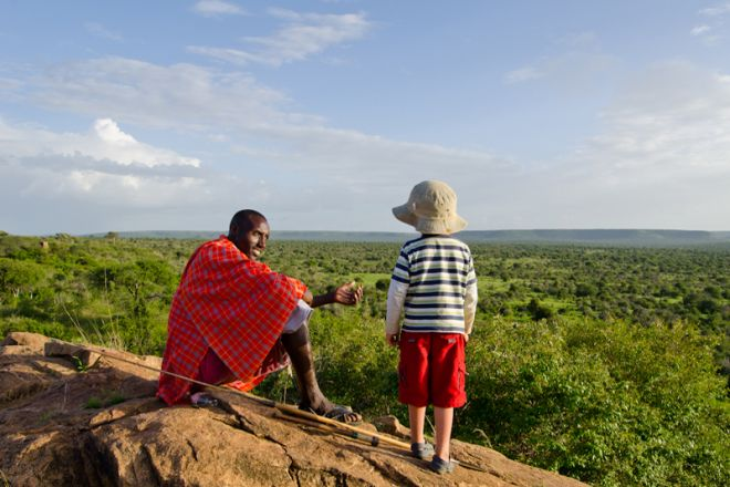 Laikipia Wilderness Camp Maasai and Child with View