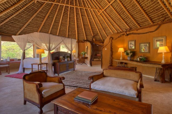 Lewa Wilderness Camp Interior Room and Lounge