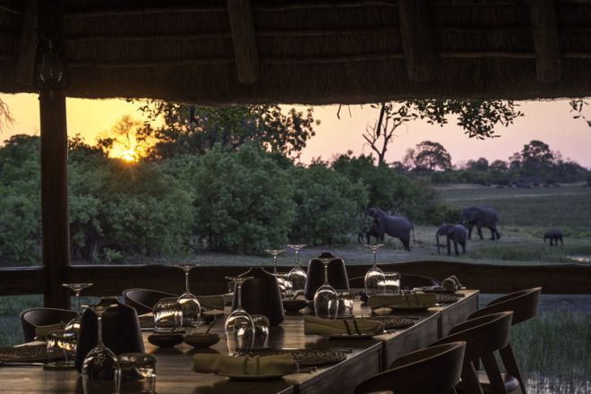 Savute Safari Lodge Dining - Elephants