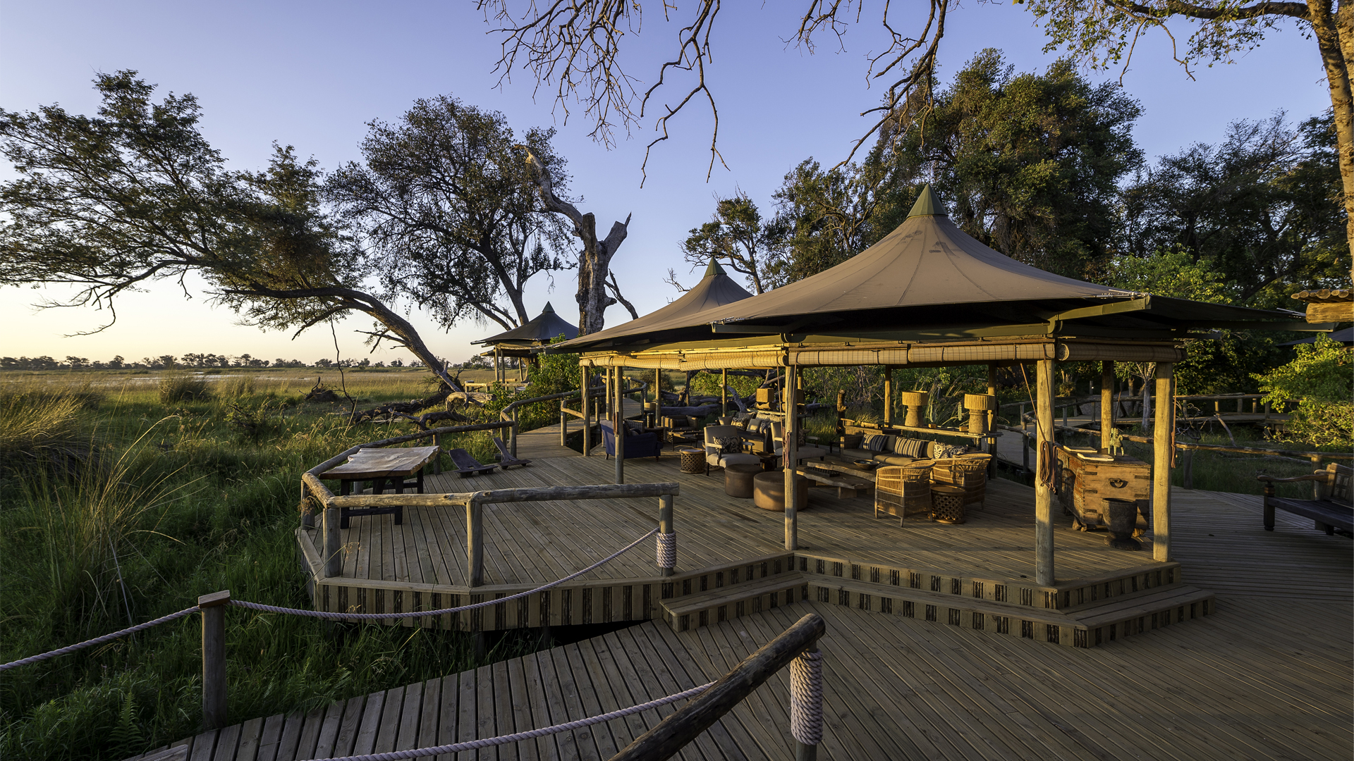 accommodation on safari tented and luxury lodges little vumbura main area