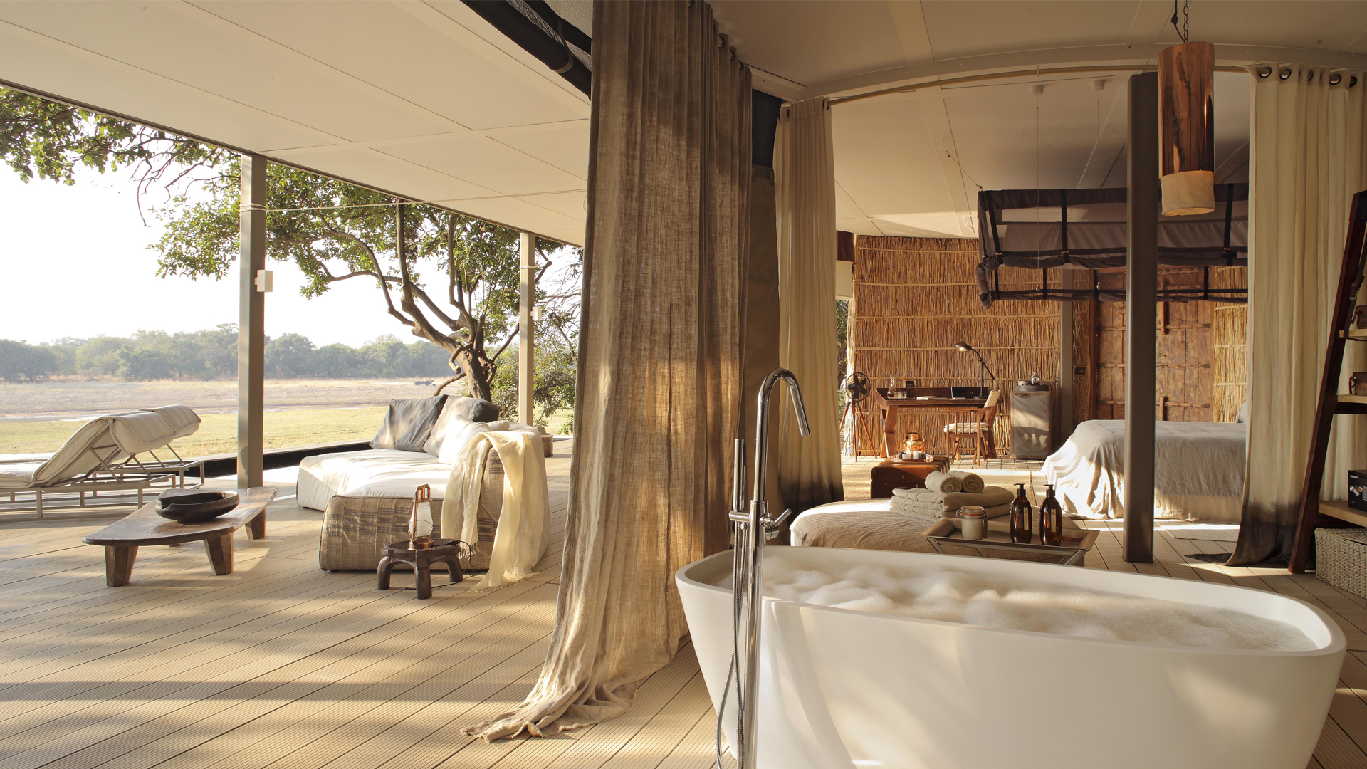 All About Safaris Ultimate Luxury Time + Tide chinzombo room and deck