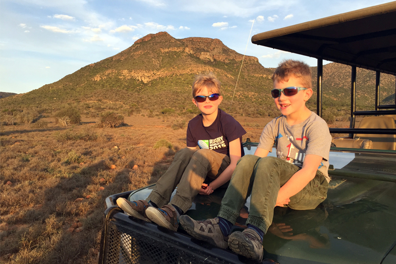 Family Safaris south africa boys game drive